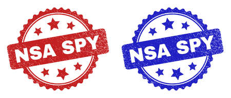 Rosette NSA SPY watermarks. Flat vector grunge watermarks with NSA SPY phrase inside rosette shape with stars, in blue and red color variants. Watermarks with grunge texture.