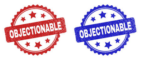 Rosette OBJECTIONABLE stamps. Flat vector grunge stamps with OBJECTIONABLE phrase inside rosette with stars, in blue and red color variants. Imprints with grunge texture.
