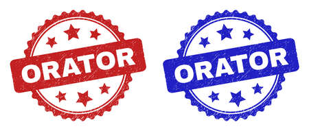 Rosette ORATOR seal stamps. Flat vector textured seal stamps with ORATOR text inside rosette shape with stars, in blue and red color variants. Rubber imitations with corroded style.