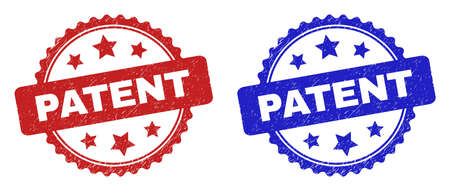 Rosette PATENT seals. Flat vector textured seals with PATENT caption inside rosette with stars, in blue and red color variants. Imprints with grunge surface.