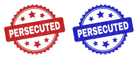 Rosette PERSECUTED seal stamps. Flat vector grunge seal stamps with PERSECUTED caption inside rosette with stars, in blue and red color versions. Rubber imitations with corroded surface.
