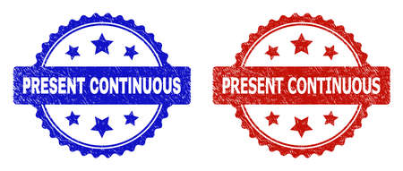 Rosette PRESENT CONTINUOUS stamps. Flat vector scratched stamps with PRESENT CONTINUOUS caption inside rosette shape with stars, in blue and red color versions. Watermarks with scratched surface.