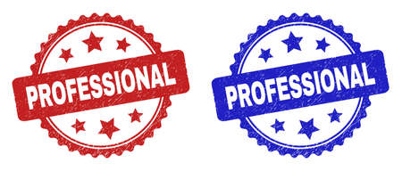 Rosette PROFESSIONAL seal stamps. Flat vector distress seal stamps with PROFESSIONAL caption inside rosette shape with stars, in blue and red color variants. Watermarks with distress surface.