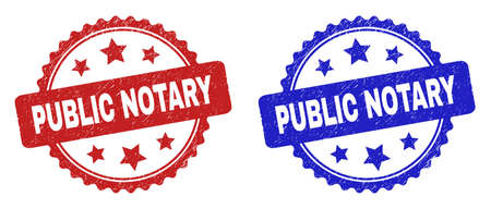 Rosette PUBLIC NOTARY seal stamps. Flat vector scratched seal stamps with PUBLIC NOTARY message inside rosette with stars, in blue and red color variants. Imprints with scratched style.
