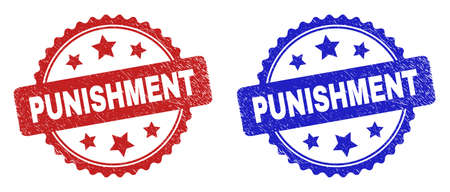Rosette PUNISHMENT seal stamps. Flat vector scratched seal stamps with PUNISHMENT text inside rosette with stars, in blue and red color variants. Rubber imitations with scratched style.