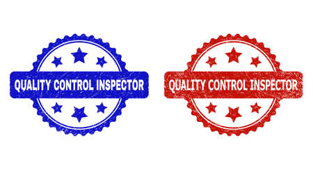 Rosette QUALITY CONTROL INSPECTOR seal stamps. Flat vector grunge seal stamps with QUALITY CONTROL INSPECTOR message inside rosette shape with stars, in blue and red color variants.