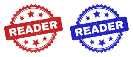 Rosette READER seals. Flat vector grunge seals with READER phrase inside rosette with stars, in blue and red color versions. Imprints with unclean style.