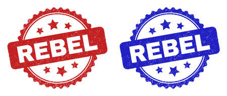 Rosette REBEL stamps. Flat vector textured stamps with REBEL message inside rosette shape with stars, in blue and red color variants. Rubber imitations with corroded surface. Vectores