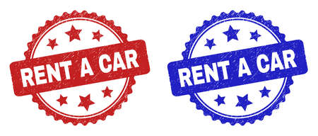 Rosette RENT A CAR seal stamps. Flat vector scratched seal stamps with RENT A CAR title inside rosette shape with stars, in blue and red color versions. Rubber imitations with scratched texture.
