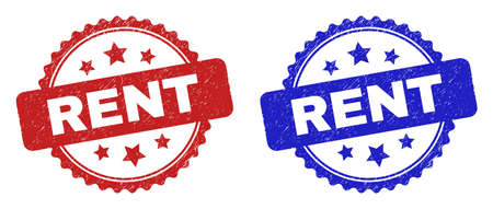 Rosette RENT seal stamps. Flat vector grunge seal stamps with RENT title inside rosette shape with stars, in blue and red color versions. Imprints with grunge surface.