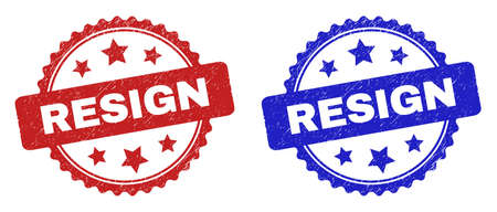 Rosette RESIGN seal stamps. Flat vector distress seal stamps with RESIGN caption inside rosette with stars, in blue and red color versions. Watermarks with corroded surface.