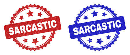 Rosette SARCASTIC seal stamps. Flat vector distress stamps with SARCASTIC title inside rosette shape with stars, in blue and red color variants. Rubber imitations with unclean texture. Vecteurs