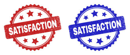 Rosette SATISFACTION stamps. Flat vector textured stamps with SATISFACTION caption inside rosette with stars, in blue and red color variants. Rubber imitations with unclean texture.