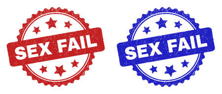 Rosette SEX FAIL seal stamps. Flat vector scratched watermarks with SEX FAIL title inside rosette shape with stars, in blue and red color versions. Watermarks with unclean style.