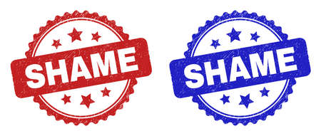 Rosette SHAME stamps. Flat vector distress stamps with SHAME title inside rosette with stars, in blue and red color versions. Watermarks with distress texture.