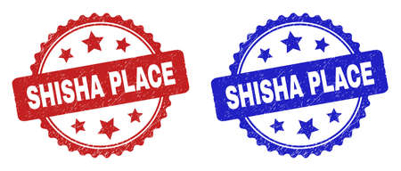 Rosette SHISHA PLACE watermarks. Flat vector scratched watermarks with SHISHA PLACE caption inside rosette shape with stars, in blue and red color variants. Imprints with scratched texture.