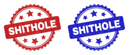 Rosette SHITHOLE seal stamps. Flat vector textured watermarks with SHITHOLE text inside rosette shape with stars, in blue and red color versions. Watermarks with grunged texture.