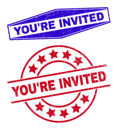 YOURE INVITED stamps. Red circle and blue flatten hexagonal YOURE INVITED seal stamps. Flat vector textured stamps with YOURE INVITED message inside round and flatten hexagon shapes.