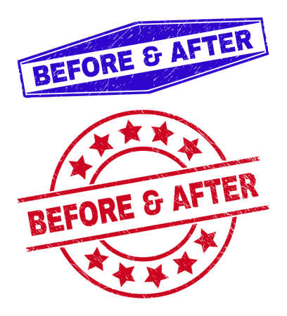 BEFORE & AFTER stamps. Red round and blue flatten hexagonal BEFORE & AFTER seal stamps. Flat vector grunge stamps with BEFORE & AFTER title inside round and flatten hexagonal shapes.