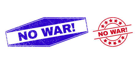 NO WAR! badges. Red round and blue extended hexagonal NO WAR! seal stamps. Flat vector distress seal stamps with NO WAR! message inside round and extended hexagonal shapes.