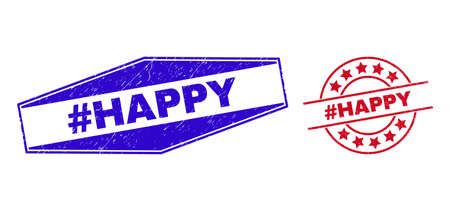 #HAPPY stamps. Red round and blue expanded hexagonal #HAPPY seal stamps. Flat vector scratched stamps with #HAPPY tag inside round and expanded hexagon shapes.