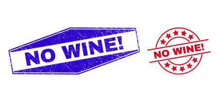 NO WINE! badges. Red round and blue flatten hexagon NO WINE! rubber imprints. Flat vector textured seals with NO WINE! title inside round and flatten hexagon shapes. Illusztráció