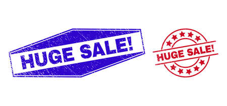 HUGE SALE! stamps. Red circle and blue flattened hexagonal HUGE SALE! rubber imprints. Flat vector grunge stamps with HUGE SALE! tag inside circle and extended hexagonal shapes.
