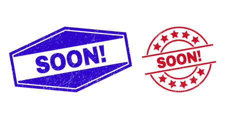SOON! stamps. Red rounded and blue flattened hexagon SOON! seal stamps. Flat vector grunge seal stamps with SOON! text inside rounded and compressed hexagonal shapes.