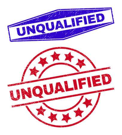 UNQUALIFIED stamps. Red circle and blue flattened hexagonal UNQUALIFIED seal stamps. Flat vector distress stamps with UNQUALIFIED slogan inside circle and flattened hexagon shapes.