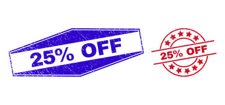 25% OFF badges. Red rounded and blue extended hexagon 25% OFF watermarks. Flat vector distress watermarks with 25% OFF title inside rounded and expanded hexagonal shapes.
