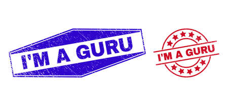IM A GURU stamps. Red circle and blue stretched hexagonal IM A GURU watermarks. Flat vector textured watermarks with IM A GURU text inside circle and expanded hexagonal shapes.