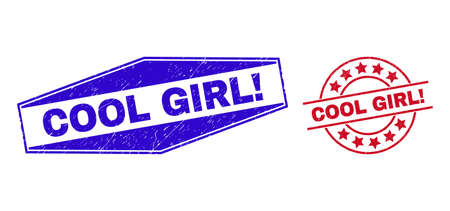 COOL GIRL! badges. Red round and blue stretched hexagon COOL GIRL! seals. Flat vector distress seals with COOL GIRL! phrase inside round and stretched hexagon shapes. Watermarks with corroded style,