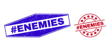 #ENEMIES stamps. Red circle and blue flattened hexagonal #ENEMIES seals. Flat vector scratched seal stamps with #ENEMIES title inside circle and compressed hexagonal shapes.