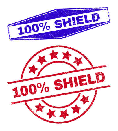 100% SHIELD badges. Red circle and blue flattened hexagon 100% SHIELD stamps. Flat vector grunge stamps with 100% SHIELD tag inside circle and flattened hexagonal shapes.