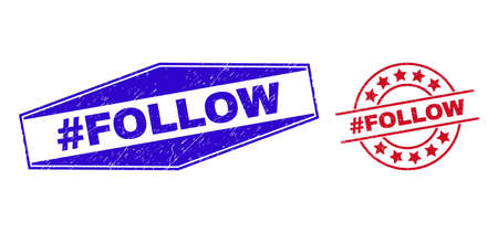 #FOLLOW badges. Red rounded and blue flattened hexagonal #FOLLOW rubber imprints. Flat vector textured seals with #FOLLOW title inside rounded and flattened hexagonal shapes.