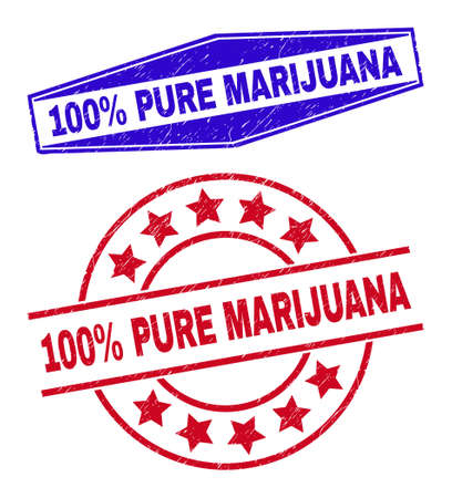 100% PURE MARIJUANA stamps. Red circle and blue extended hexagonal 100% PURE MARIJUANA seal stamps.
