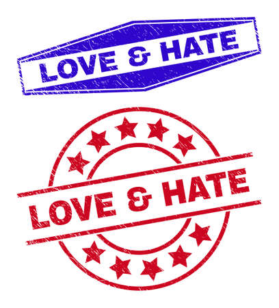 LOVE & HATE badges. Red round and blue expanded hexagon LOVE & HATE rubber imprints. Flat vector grunge stamps with LOVE & HATE tag inside round and extended hexagon shapes.