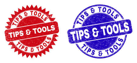 Rounded and rosette TIPS & TOOLS stamps. Flat vector distress seal stamps with TIPS & TOOLS slogan inside round and sharp rosette form, in red and blue colors. Imprints with distress surface,