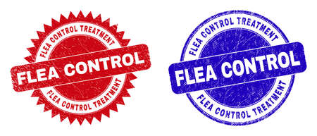 Round and rosette FLEA CONTROL TREATMENT watermarks. Flat vector scratched watermarks with FLEA CONTROL TREATMENT title inside round and sharp rosette shape, in red and blue colors.