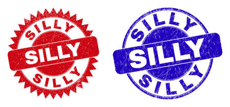 Rounded and rosette SILLY seal stamps. Flat vector grunge seal stamps with SILLY title inside round and sharp rosette shape, in red and blue colors. Rubber imitations with scratched surface.