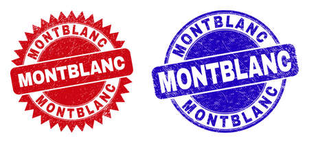 Rounded and rosette MONTBLANC seal stamps. Flat vector scratched watermarks with MONTBLANC text inside round and sharp rosette shape, in red and blue colors. Watermarks with scratched style. Illustration