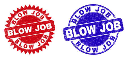 Rounded and rosette BLOW JOB seals. Flat vector distress seals with BLOW JOB text inside round and sharp rosette shape, in red and blue colors. Watermarks with distress texture, on a white background. Ilustración de vector