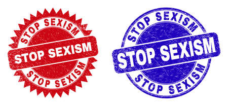 Round and rosette STOP SEXISM seal stamps. Flat vector grunge seal stamps with STOP SEXISM title inside round and sharp rosette shape, in red and blue colors. Imprints with unclean style. Ilustração Vetorial