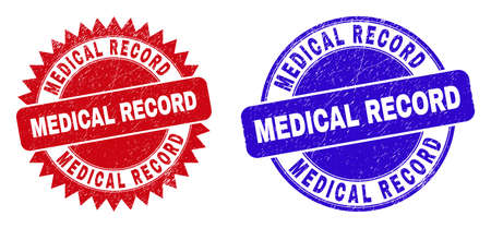 Round and rosette MEDICAL RECORD seals. Flat vector distress seals with MEDICAL RECORD tag inside round and sharp rosette shape, in red and blue colors. Watermarks with distress style.