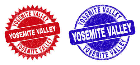 Round and rosette YOSEMITE VALLEY stamps. Flat vector grunge stamps with YOSEMITE VALLEY title inside round and sharp rosette form, in red and blue colors. Watermarks with grunge texture.