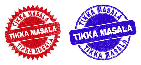 Round and rosette TIKKA MASALA seal stamps. Flat vector distress seal stamps with TIKKA MASALA slogan inside round and sharp rosette form, in red and blue colors. Imprints with unclean surface.