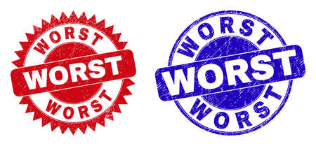 Round and rosette WORST seal stamps. Flat vector textured seal stamps with WORST tag inside round and sharp rosette shape, in red and blue colors. Imprints with corroded style, on a white background.