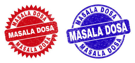 Rounded and rosette MASALA DOSA seal stamps. Flat vector scratched seal stamps with MASALA DOSA phrase inside round and sharp rosette form, in red and blue colors.