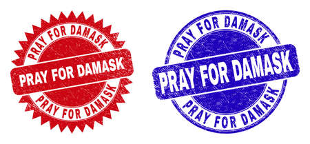 Round and rosette PRAY FOR DAMASK watermarks. Flat vector textured watermarks with PRAY FOR DAMASK slogan inside round and sharp rosette shape, in red and blue colors. Watermarks with grunged texture.