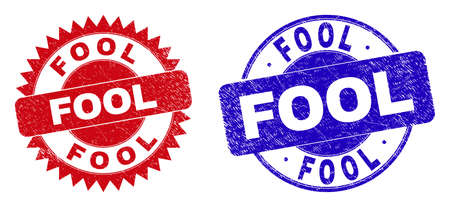 Round and rosette FOOL seals. Flat vector distress seals with FOOL phrase inside round and sharp rosette shape, in red and blue colors. Rubber imitations with grunge surface, on a white background. Illustration
